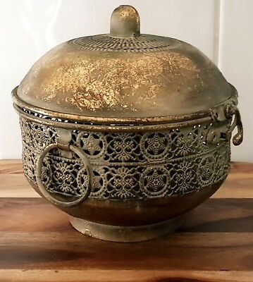 Exotic rustic Trinket box with lid, gold lustre finish, decorative, home decor