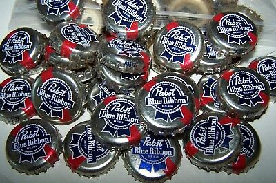 100 Pbr Pabst Blue Ribbon Red Blue Silver Beer Bottle Caps No Dents Free Shpg!