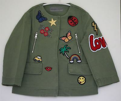 Ermanno Scervino Girls Green Patch Military Jacket 4 Years