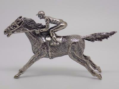 128.25g/4.52-oz. Vintage Solid Silver Racing Horse Statue - Stamped - Italian