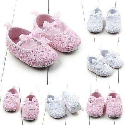 Newborn Kid Girl Crib Shoes Baby Toddler Solid Bowknot Lace Soft Sole Prewalkers