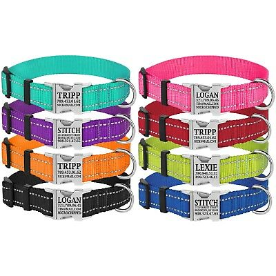 Reflective Dog Collar Personalized Nylon Collars for Dogs Custom Engraved Buckle