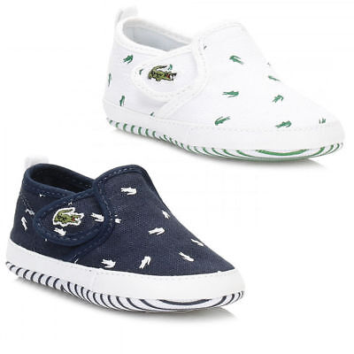 Genuine Lacoste Crib baby Trainers Kids Gazon Slip on First Shoes - Navy/White