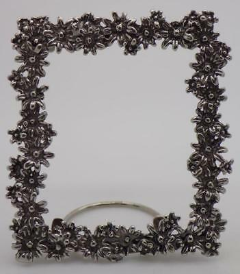 19g/0.7-oz. Vintage Solid Silver Italian Made Small Daisy Frame, Stamped