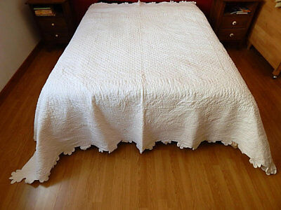 Large Vintage Quilt / French Boutis Provencal Hand Stitched Cotton Coverlet