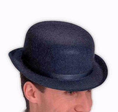 Mens Black Bowler Hat Derby Cap Wool-Like The Son of Man Costume Adult Head a4734c06d3b1