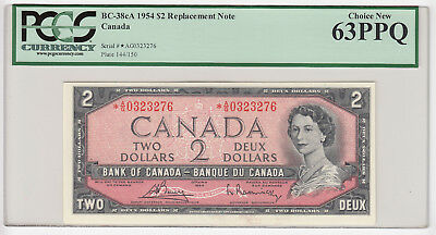 1954 Bank of Canada $2 Replacement *A/G Low Serial # - PCGS Choice 63 PPQ - SALE