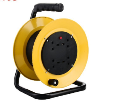 50M 4WAY CABLE EXTENSION REEL LEAD 240V FREESTANDING 13A 4 SOCKET GANG-UK Stock