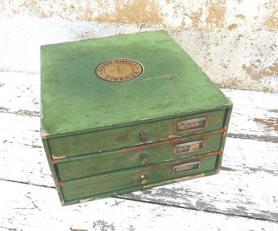 Antique 1900/1920 French thread storage box / Shop display box/3 drawer box
