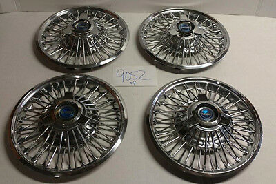 "65 66 67 Ford Fairlane Mustang 14"" Wire Hubcaps Hub Caps Oem Set Used 610"