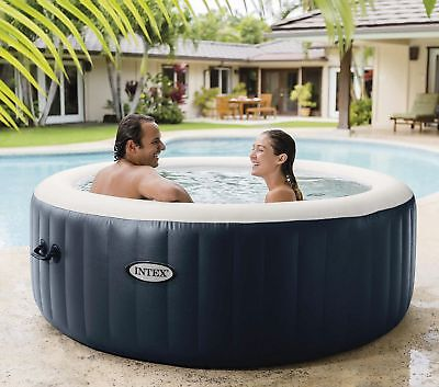 """NEW Intex PureSpa Round 4 Person Bubble Massage  77"""" Inflatable Hot Tub"""