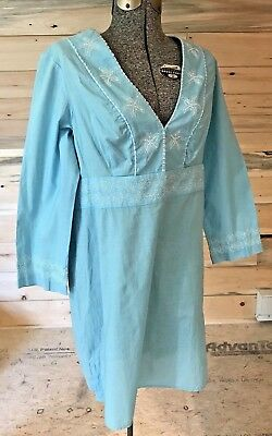 80ac0cab81a NEW Vineyard Vines SKY BLUE Tissue Cotton Embroidered Beaded Tunic Dress  size M