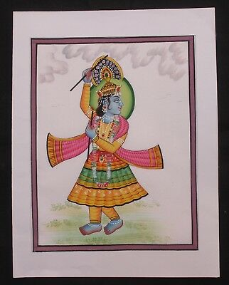 Old Vintage Cloth Painting Lord Of Krishna Water Color Hand Painting Collectible
