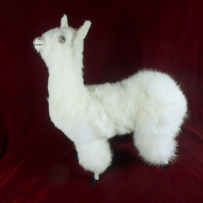 "Llama Alpaca Fur Figure 15"" tall Bendable legs Glass eyes"