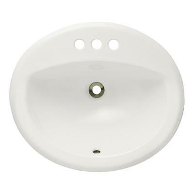O2018 Porcelain Overmount Bathroom Sink and Pop-Up Drain