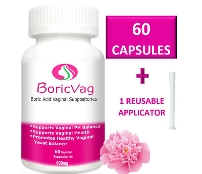 60 Boric Acid Suppository Capsules (600 mg) | Applicator Included