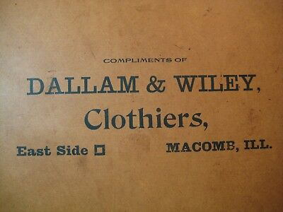 Antique Litho Print Compliments of Dallam & Wiley, Clothiers, Macomb, ILL-Masons