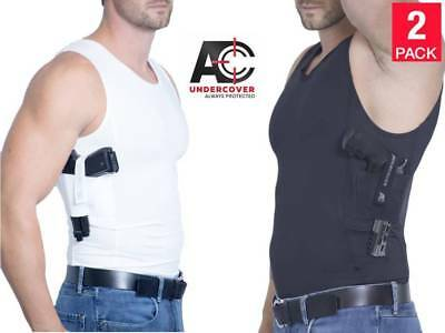 f9b512561f2619 AC UNDERCOVER Tank Top Concealed Carry Clothing Holster (Black/White 2-Pack)
