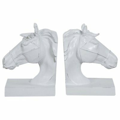 Resin made antiqued white finish W15xDP11xH21 cm each bookends horse-pair