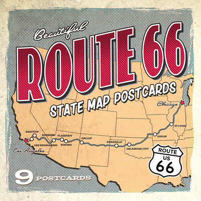Route 66 State Map Postcards | Set of 9 | 4x6