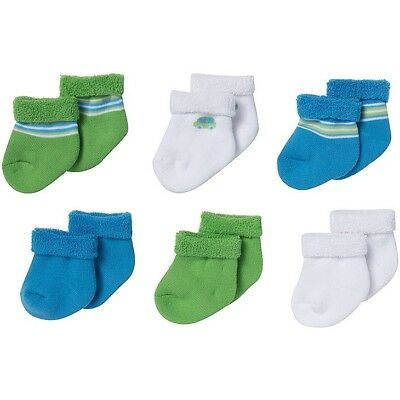Gerber Baby Socks 0-3 Months 6-Pack Assorted Colors White Blue Green