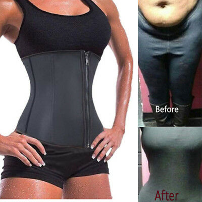 UK FAJAS Latex Waist Cincher Waist Trainer Slimmer Long Torso with Rows Zip Up