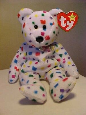 Retired Beanie Babies Ty2K the Bear Confetti Colored DOB 1/1/2000