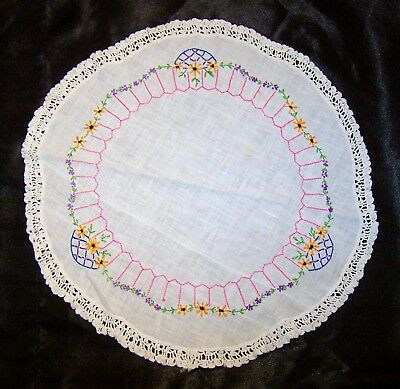 """Vintage Antique Hand Embroidered Flowers Doily for Table Centerpiece LARGE 16.5"""""""