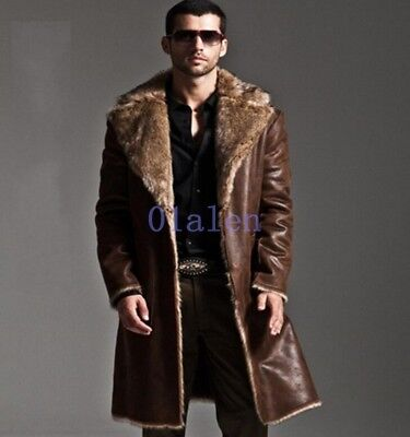Retro Mens 2018 Full Length Faux Fur Leather Coats Luxury Parkas Blazer Winter