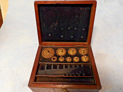 Vintage Apothecary Scale Balance Weights In Wood Case