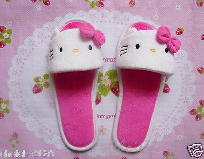 New Cute Hello Kitty Rose Pink Soft Plush Furry Slippers Rubbler Sole HS07