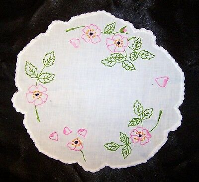 """Vintage Antique Hand Embroidered Pink Flowers Doily for Table, Centerpiece 9.5"""""""