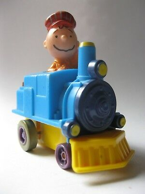 """CHARLIE BROWN IN A TRAIN stamped U.F.S. 1966 PEANUTS PVC toy car about 2.5"""" tall"""