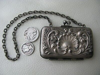 Antique Victorian Art Nouveau Silver Metal Floral Shell French Doll Coin Purse