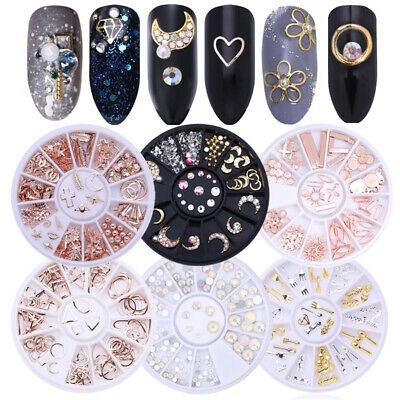 3D Nail Art Decorations In Wheel Rose Gold Leaf Shell Rhinestones Studs Manicure