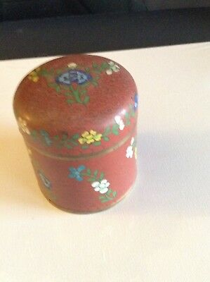 Antique Chinese Cloisonné Tea Caddy Box Lidded Container