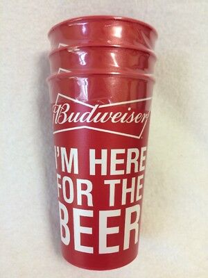 3 Budweiser Im Here for the Beer Collectible Red Plastic Party BBQ Cups July 4th