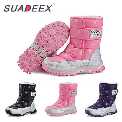 SUADEEX Girls Snow Winter Warm Boots Kids Toddler Waterproof Outdoor High Shoes