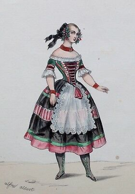 Antique 1840/50'S French Hand Coloured Lithograph L'opera Tyrolienne Costume