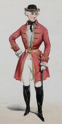 Antique 1840/50'S French Hand Coloured Lithograph Costume De Chase Louis Xv