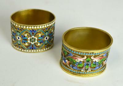 Two Russian Silver Enamel Napkin Rings Lot 9