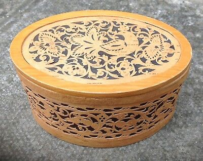 Small Vintage Handcrafted Wooden Dove Bird Themed Oval Box ~ Shabby Chic