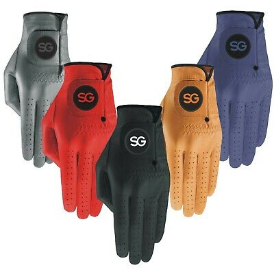 PACK OF 3 OR 5 Men colored cabretta leather golf gloves RED BLUE GOLD GREY GREEN