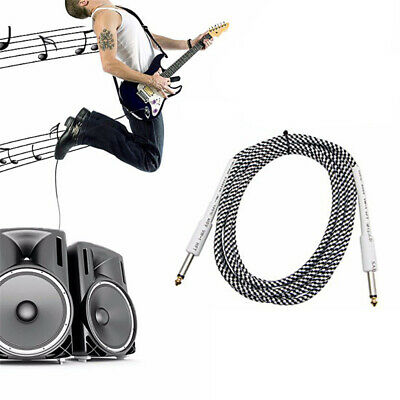"1/4"" 6.35mm Jack Plug Male Stereo Audio Cable Lead For Guitar Bass Cord 2m"