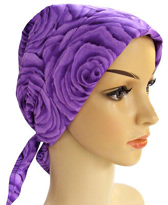 Lightly Padded Cotton Head Scarf -, Suitable For Chemo, Hair Loss, Purple Rose