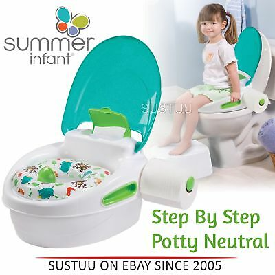 Summer Infant Step By Step Potty│Kid's Toilet Trainer│Soft Seat Stand│Neutral│