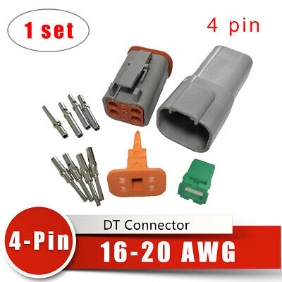1 set Deutsch DT Connector 16-20 AWG 4-Pin Male&Female Connectors Kits Adapters