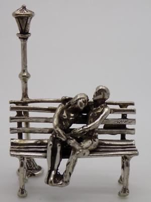 19g/0.67-oz. Vintage Solid Silver Italian Made Lovers Miniature, Figurine, Stamp