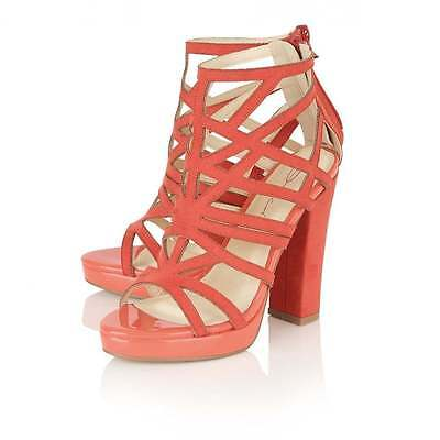 4f89af07a985 Dolcis Petra Cheap Summer Block Heel Caged Memory Foam Sandals Shoes Coral  Uk 7