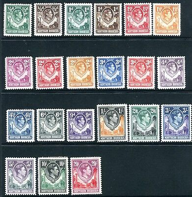 NORTHERN RHODESIA-1938-52  A mounted mint set to 20/- Sg 25-45